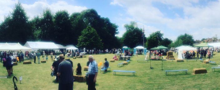 Village fete with stalls set up