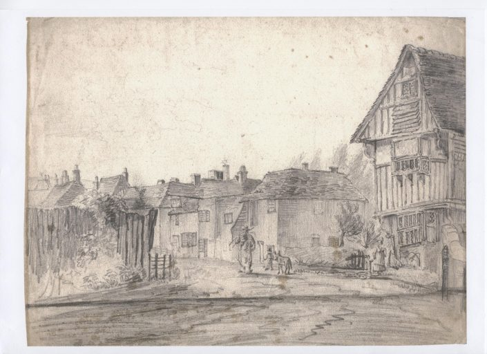 A historical village drawing of houses