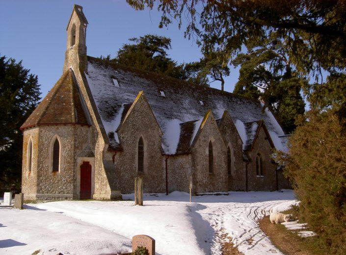 Holy Trinity Church in the snow