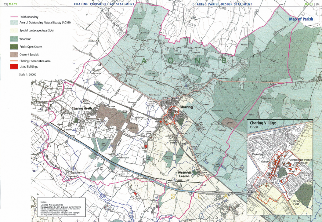 This map shows the boundaries of Charing Parish