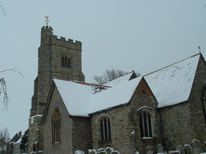 Local church covered in snow